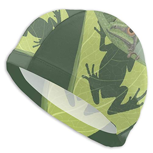 Art-Capital Swim Cap Tree Frog Swimming Cap Wrinkle-Free Pool Hat Designed for Short Long Thick and Curly Hair Unisex Adult Men Women