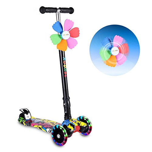 Kick Scooters for Kids, KUOKEL Folding Kick Scooter Height Adjustable LED PU Flashing 4 Wheels Colorful Foldable with Gorgeous Graffiti Mini Winnower, Kids Gift for Christmas, Birthday, Holiday (Scooters 4 Kids Wheel)