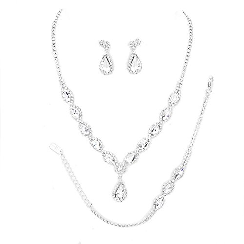 - Christina Collection Women Costume Jewelry Clear Oval Rhinestone Clear Drop Set 3 Pcs Silver Bracelet Earrings Necklace Set