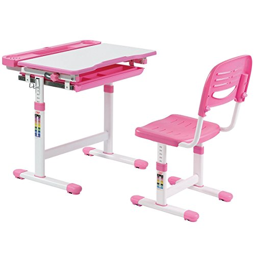Children-Desk Adjustable Height Folding Table and Chair - Multifunctional Chair Set - with Storage (Pink)