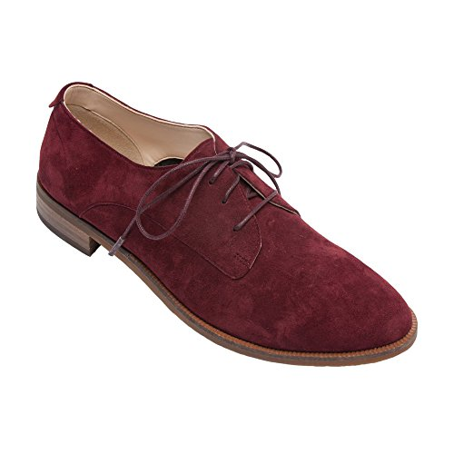 PIC/PAY Jonas - Women's Lace-Up Oxford - Classic Flat Leather Menswear Style Loafer Shoes (New Fall) Burgundy Suede outlet cheap prices OKVhEqe