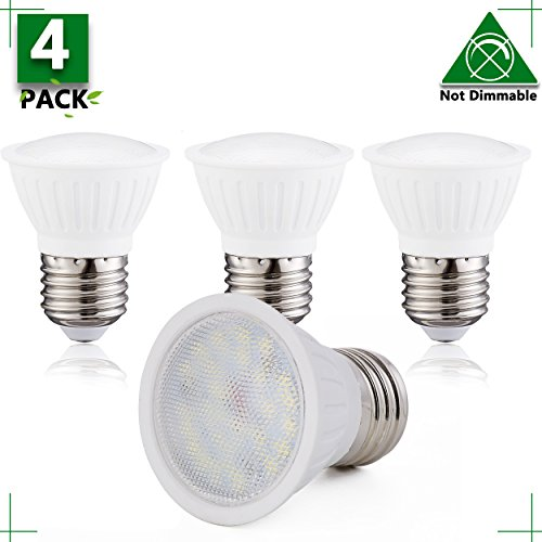 LED PAR16 Spotlight Bulbs 3W Soft White 3000K,300lm, 120Volts silicon controlled Non Dimmable 25W Halogen Bulbs Equivalent 120 Degree Beam Angle E26 medium Base Standard Size Light Bulbs(Pack of 4) 120 Volt Par16 Medium Base