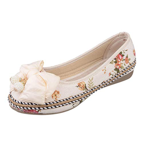 5b1a28d335bb11 Xinantime Embroidered Flats Shoes Women's Chinese Embroidery Ballet Lofers  Slip on Comfortable Bohemia Dress Shoes Beige
