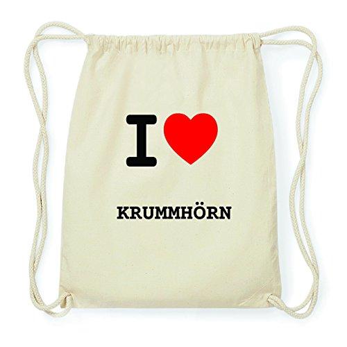 JOllify KRUMMHÖRN Hipster Turnbeutel Tasche Rucksack aus Baumwolle - Farbe: natur Design: I love- Ich liebe