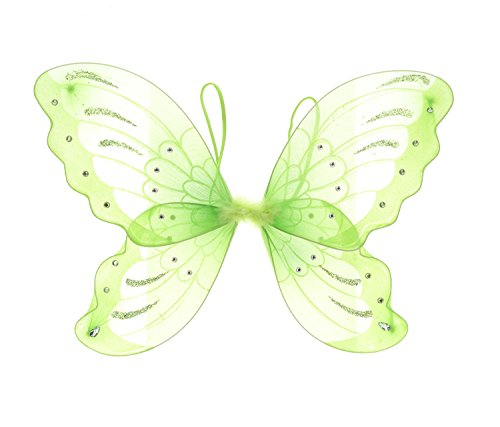 Mozlly 21 inch Green Glittery Sheer Fabric Butterfly Wings for Children Dress up Accessory