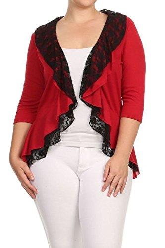 Shirred Ruffle Cardigan (Lace Open Ruffle Draped Long Sleeves Plus Cardigan Top Sizes 1X 2X)