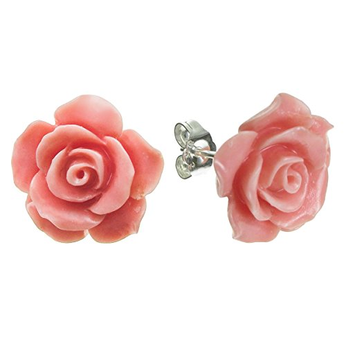 (Sterling Silver Simulated Pink Coral Rose Earrings Stud Post 15mm)