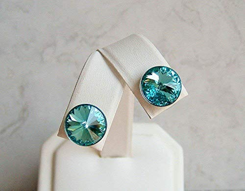 - Blue 11mm Simulated Turquoise Round Crystal Stud Earrings December Birthstone Gift Idea SS