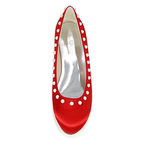 Tobillo Las De Plano Satinado Mujeres De Est Elobaby Zapatos Perlas Boda wqI0p4A