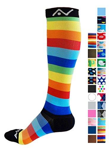 Compression Socks for Women and Men - Rainbow Stripes, Medium