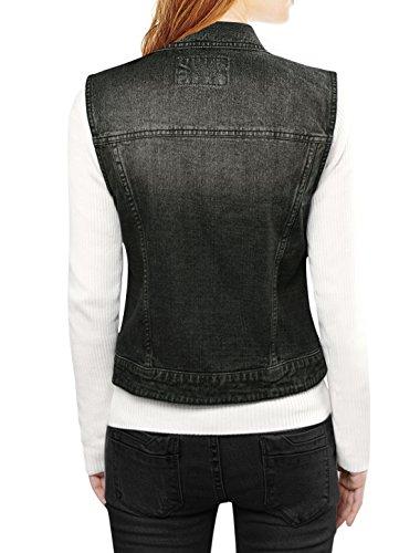 Women's Allegra Chest Black Waistcoat w Vest Denim Pockets Washed K Buttoned Flap UqnxBwqH5