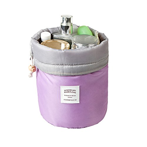 Q Dream Travel Bag Makeup bag Cosmetic Bag Travel Kit Organizer Bathroom Storage Cosmetic Bag Carry Case Toiletry Bag Multifunctional Barrel Shapedtoiletry Bag(Purple)