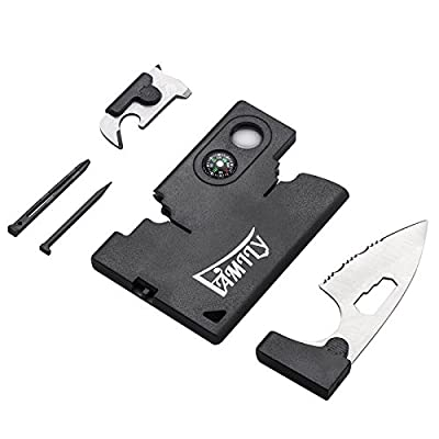 FAMILY® Survival Pocket Credit Card Tool for Outdoor Camping, Fishing, Hiking - 10 Essential Tools in 1 Fits in Your Wallet - Thin & Lightweight Multi-function Credit Card Companion by FAMILy