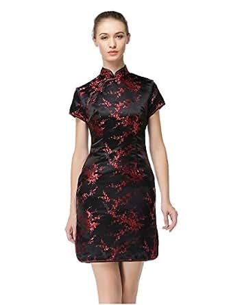 Bitablue Womens Red Plum Blossom Short Chinese Dress at