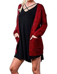 Women's Long Sleeve Knitwear Open Front Cardigan Sweaters Outerwear with Pocket