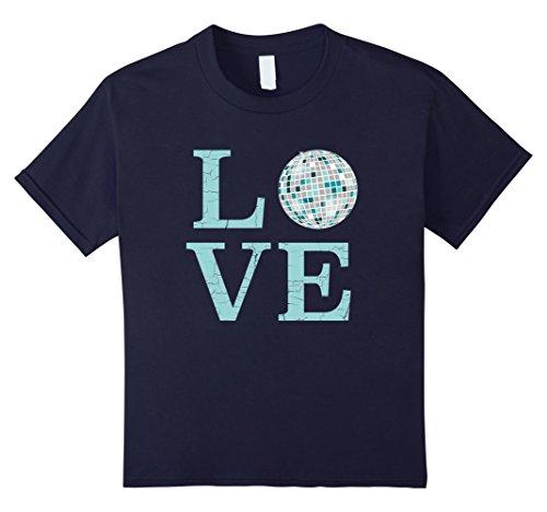 Disco Queen Costume Ideas (Kids Retro I Love Disco T-Shirt-Mirror Ball Throwback Tee 8 Navy)