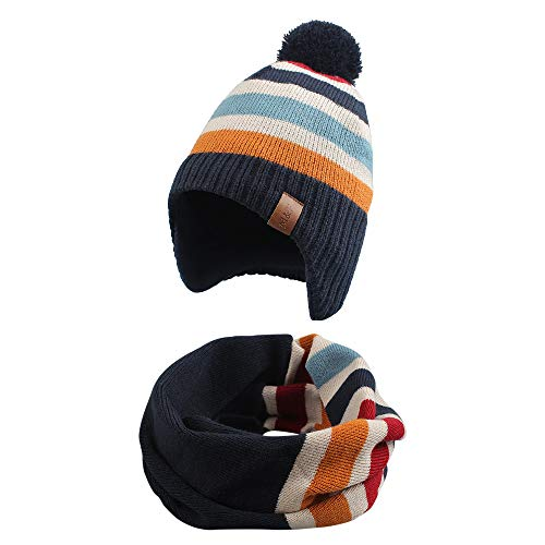 Knitted Baby Hat Scarf Set Winter Warm Boys Girls Beanie Fleece Lining Toddler Kids Hat with Pompom