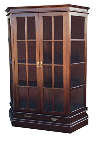 D-ART Profile 2-Door Bookcase Curio Cabinet - in Mahogany Wood by D-Art Collection