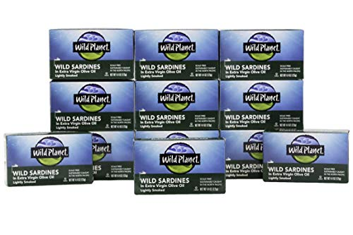 Wild Planet Wild Sardines in Extra Virgin Olive Oil, Lightly Smoked, Keto and Paleo, 4.4 Ounce, Pack of 12 (Sultan Sardines)