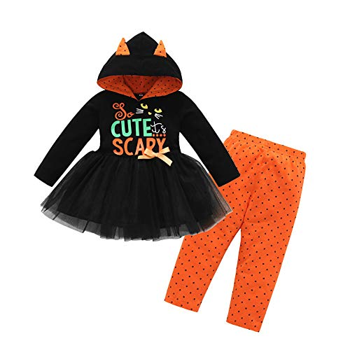 Fheaven (TM) Toddler Baby Girls Letter Print Tops Hoodied Tutu Dress Dot Pant Outfit Set Halloween Costume Clothes Set (18-24 Months, Black) -