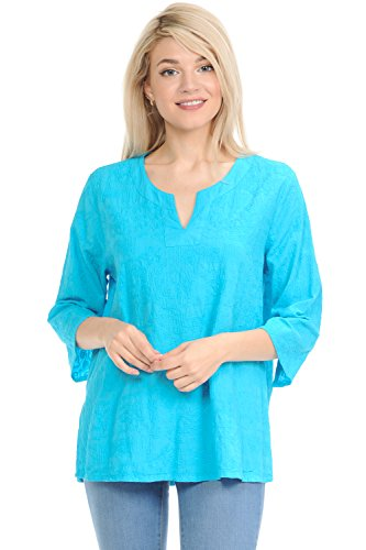 Accessories : Womens Clothing Turquoise - Focus Fashion Voile Embroidery Tunic-C630 (Turquoise, X-Large)