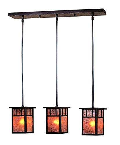 Classic Craftsman Two Light (Arroyo Craftsman HICH-4L/2AM-S Huntington 2 Light In-Line Chandelier with Classic Arch Overlay, 4