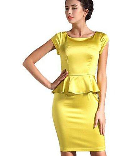 PU&PU Robe Aux femmes Deux Pièces Street Chic,Couleur Pleine Col Arrondi Au dessus du genou Polyester , yellow-l , yellow-l