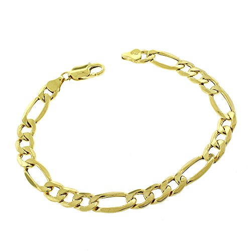 "10K Yellow Gold 8mm Hollow Figaro Link - Light-Weight - Bracelet Chain 9"" (9)"