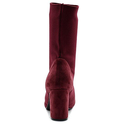 Women's Faux Wine Sock Suede Ollio Boots Ankle Shoes Stretch Knitted RFfxSdvqw