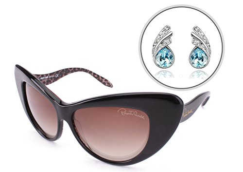 Roberto Cavalli RC737S Cat Eye Womens Sunglasses O5L Black (58-14-135mm) - Gradient Tint, Mirrored Lens, Full Rim - 100% AUTHENTIC Sun Glasses with Free Silver Plated Water Drop Earrings