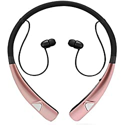Bluetooth Earbuds, Wireless Headphones Neckband Headset Stereo Hand-free Sports In-ear Noise Cancelling Earphone with Mic for iPhone, Samsung, Android and Other Bluetooth Devices by Havan (Rose Gold)