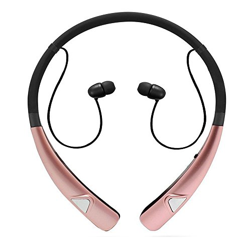 Bluetooth Earbuds, Wireless Headphones Neckband Headset Stereo Hand-Free Sports in-Ear Noise Cancelling Earphone with Mic for Smart Phone and Other Bluetooth Devices by Havan (Rose Gold)