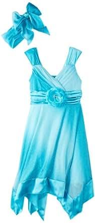 My Michelle Big Girls' Belted Dress, Blue, 10