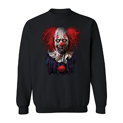 Christmas Ugly Sweater Co Scary Zombie Clown Unisex Crewneck Scared Fancy Halloween Costume Oct. 31st Black (Oct 31 Halloween Day)