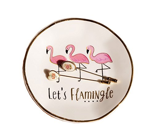 Trinket Dish,Let's Flamingle Small Jewelry Tray Decorative (Kitty Trinket Box)