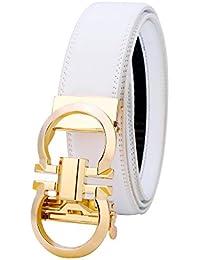 Men's Genuine Leather Ratchet Fashion Dress Belt Comfort Click on Buckle 1.38''
