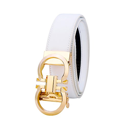 Mens Genuine Leather Rachet Dress Belt Comfort Click on Automatic Gold Or Silver Buckle Belt 35mm (Gold/White, 27''-49'')