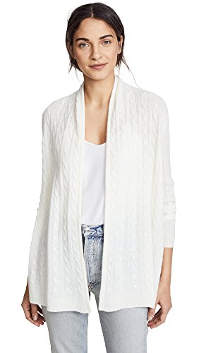 White Warren Cashmere Cardigan - White + Warren Women's Cable Cardigan, Pearl White, Medium