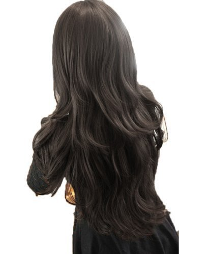 [Womens Girls Fashion Wavy Curly Long Hair Human Full Wigs + Hairnet (Black)] (Curly Wigs For Black Hair)