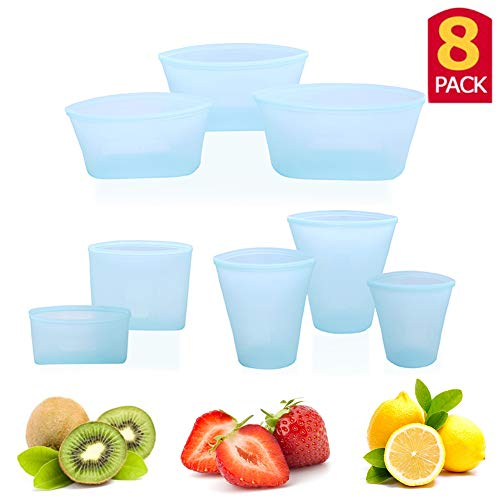 8Pcs Reusable Silicone Food Bag Zip Lock Leakproof Containers Stand Up Stay Open Zip Shut Food Storage Bag Snack Fruit Bag Cup Pattern (Blue, 8pcs set)