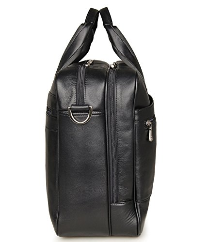 17-inch Leather Laptop Bag, Berchirly Large Lawyer Brifecase Man Computer File Bag Business Totes Black by Berchirly (Image #2)