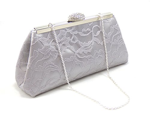 Silver, Platinum Grey Lace and Silver Paisley Bridal Clutch, Bridesmaid Gift, Mother of the Bride Clutch, Bridesmaid Clutch, Wedding -