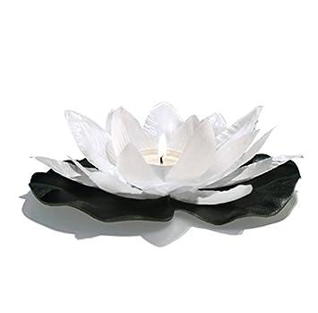 Confezione da 20 candele galleggianti per piscina, fiore di loto, forma di ninfea, poliestere (Bianco) EUTOPICA