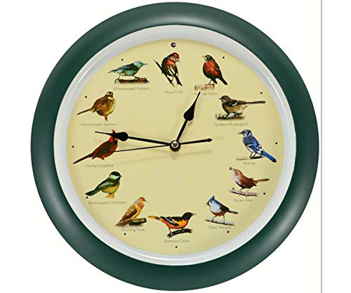Mark Feldstein and Associates DLB023GR Original Singing Bird Clock 13 in Green (Best Birds Singing)
