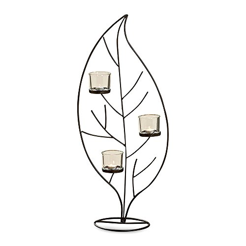 WHW Whole House Worlds Leaf Candelabra for Votives, Triple Candle Holder, Crafted by Hand, Artisinal Design, Iron, Glass Cups Included, 34 1/4 Inches High, Sconce on Stand