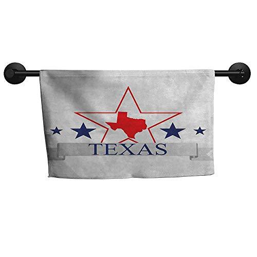 Absorbing Towel W 24 x L 8(inch) Anti-Fade Towel,Texas Star,San Antonio Dallas Houston Austin Map with Stars Pattern USA,Navy Blue Vermilion Pale Grey (Travel Time From Austin To San Antonio)