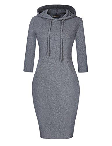 GloryStar Women's Casual Fitted Long Sleeve Pullover Pocket Knee Length Sweatshirt Hoodie Dress (M, Grey)