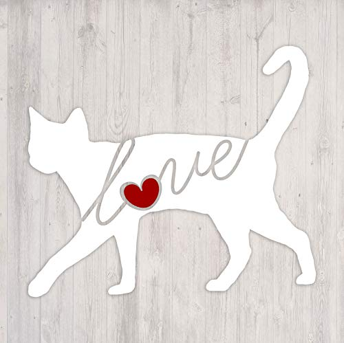 Russian Blue Cat Love - Car Window Vinyl Decal Sticker (Script Font) ()