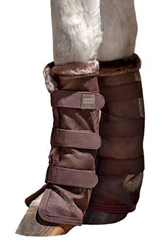 Kensington Natural Horse Fly Boots - Fleece Trimmed - Stay-Up Technology - Protection from Insect Bites and UV Rays - Sold in Pairs (2 Boots) - X-Large - Brown