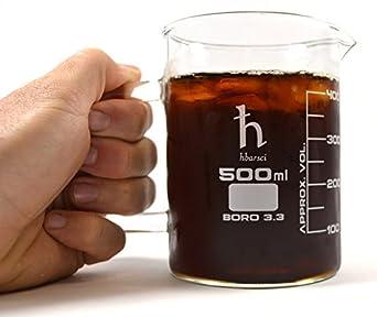 EISCO Premium Hand Crafted Beaker Mug, Thick Borosilicate Glass, Large Size, Pint Glass or Coffee Mug Sized, 500 ml Capacity, 16.9 oz.